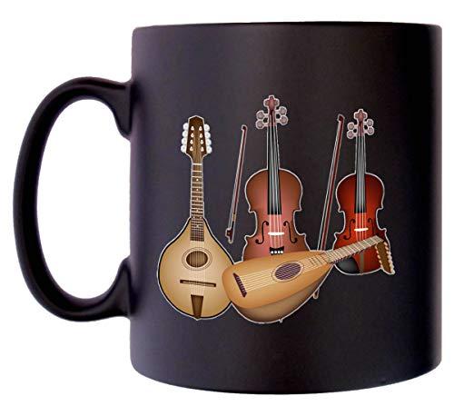Klassische Saiteninstrumente Klassek Musik-Tasse 284 ml schwarz Satin Kaffee Tee Violine Viola Mandoline Laute