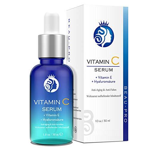 Vitamine C-serum | Sterk gedoseerd met hyaluronzuur door BEAU-PRO | Natuurlijke anti-aging + antirimpel voor gezicht | Met 20% vitamine C + hyaluronzuur + vitamine E + Arbutine | 30 ml