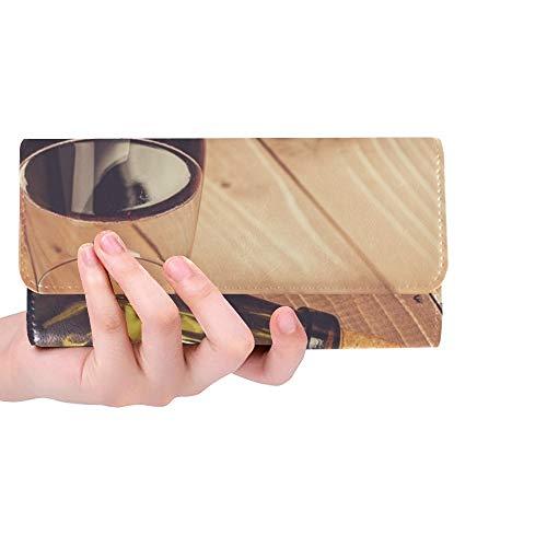 Botella Personalizada única de Cristal Vino Tinto Corcho de UVA Mujer tríptico Billetera Monedero Largo Titular de la Tarjeta de crédito Bolso de la Caja