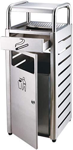 Vuilnisbakken ondersteunen asbak buiten vuilnisbak sigaret RVS stof 35L / 9.2Gallon, in plaats van het hergebruik huisvuil industrieel tuin mand, Kleur: Zilver (Color : Silver)