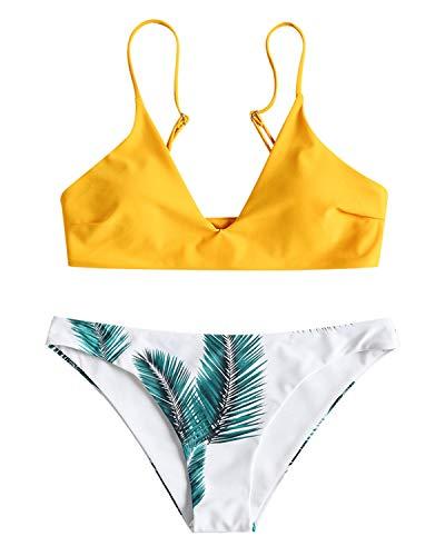 ZAFUL Damen Gepolsterter Bikini Set Bademode Badeanzug mit Blatt Pattern Zweiteilig Gelb Medium