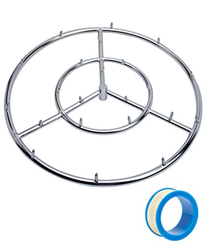 GASPRO 24' Round Jet Burner Ring for Natural Gas or Propane Fire Pit, 304 Series Stainless Steel with Thread Seal Tape, High Flame