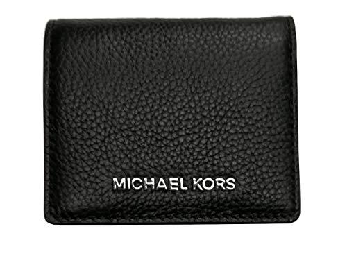 Michael Kors Jet Set Travel Medium Carryall Card Case Bifold Wallet Pebble Leather Silver Hardware Black