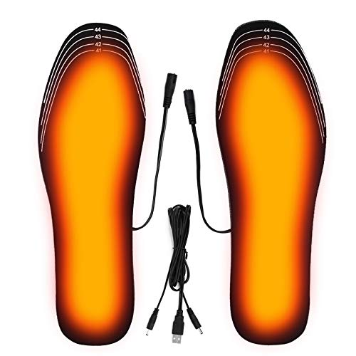 XUELI Heated Insoles for Men or Women, Feet Warmer Electric USB Rechargeable for Fishing Hunting Shoveling Snow Washable Free Cut (Size 8-12 41-45)