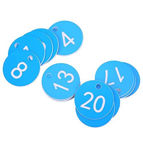 Etiquetas de número de Granja, identificación precisión Colgante Redondo plástico numerado Etiqueta Etiqueta de Ganado Marca de Animal para la cría de Apicultura(1-20-Azul)