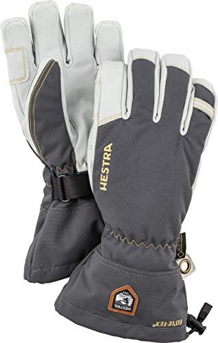 Hestra Army Leather Gore-TEX - Waterproof, Long-Cuffed 5-Finger Snow Glove for Skiing, Snowboarding and Mountaineering - Grey - 9