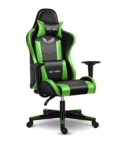 Shuanghu Gaming Chair Office Chair Ergonomic PC Computer Chair with Reclining Racing Chair with Headrest and Lumbar Support Gaming Chair for Adults Teens Desk Chair (Green)