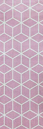 onloom Küchenläufer in graphischen & geometrischen Designs, robust, schadstoffgeprüft, Farbe:Pink, Größe:50 x 150 cm