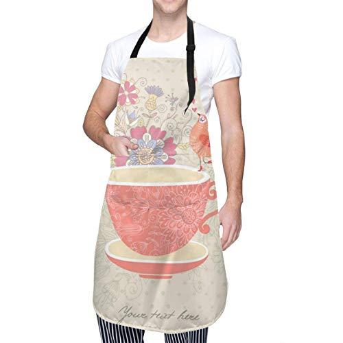 Delantal de una Taza de té Delantal de Cocina cosmético Delantal de Maquillaje Delantal de Dama Delantal de Cocina Ajustable Impermeable para Hornear Jardinería