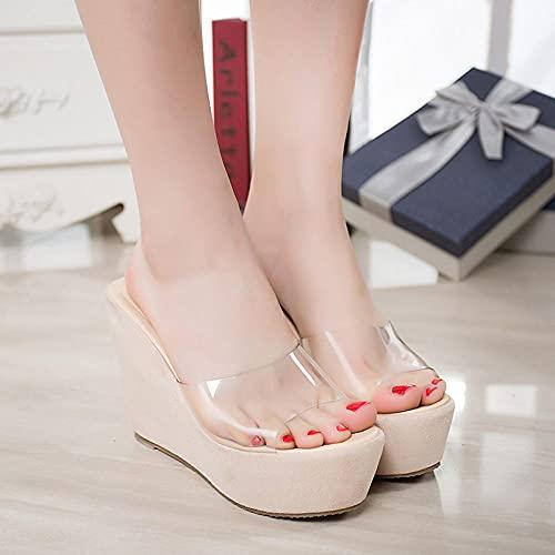 Sandalias Wave,Súper Alta Pendiente con Sandalias de 8cm, Zapatos para Mujer Sandalias de Gran tamaño de Vidrio Transparente-Albaricoque_37,Sandalias de Ducha de Verano