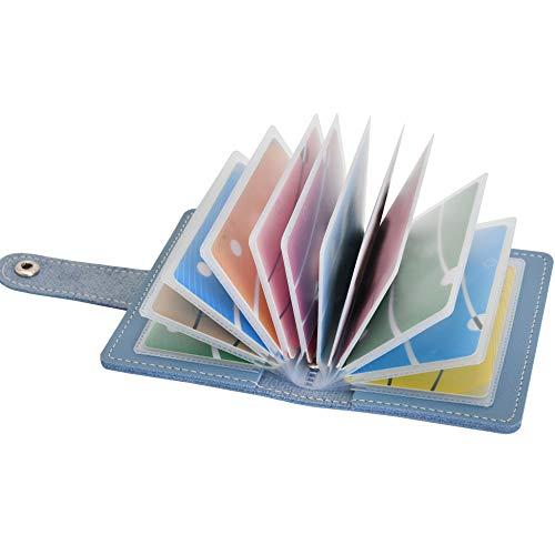 Tarjetero para Tarjetas de credito para Mujer Hombre Piel con Alrededor con el Bolsillo de la Moneda Cuero Tarjeteros Pequeños de Visita (Azul)
