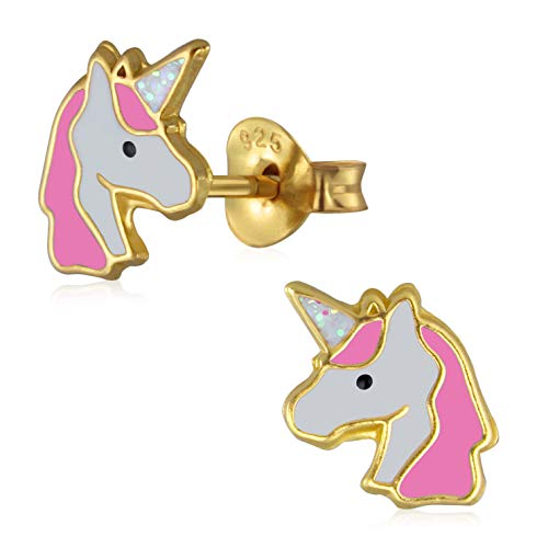 Laimons Orecchini per bambina, a forma di unicorno, placcati oro rosa, in argento Sterling 925 bianco
