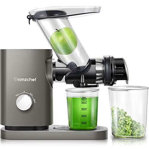 AMZCHEF Estrattore di succo,spremiagrumi,spremiagrumi per verdure e frutta,75 mm,calibro largo 2 velocità ≤58dB,funzione di inversione silenziosa,spazzola per la pulizia del succo