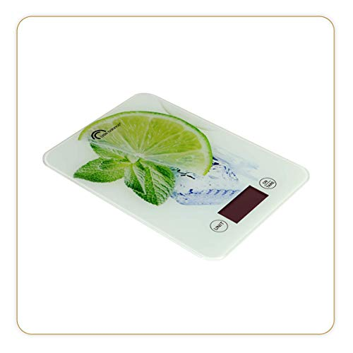 LITTLE BALANCE 8034 Slim - Balance de cuisine électronique - 5 kg/1 g - Plateau en verre trempé - Design extra-plat - Décor Citron