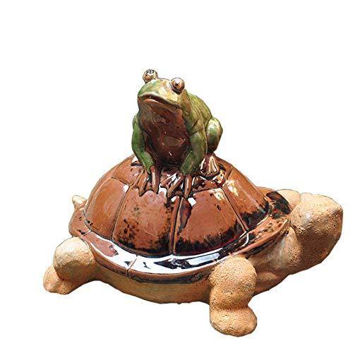 Estatua de cerámica de Tortuga, decoración de jardín de Tortuga, Estatua de Animal al Aire Libre, Adorno de Rana, Novedad Creativa, Adorno de jardín
