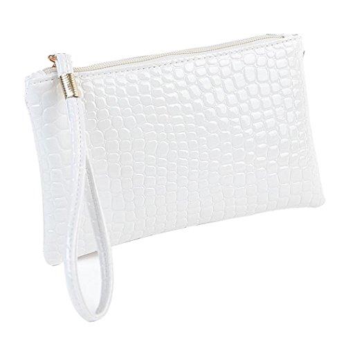 DDLBiz, Borsa a spalla donna, borse a mano, Donna artificiale in pelle di coccodrillo della frizione della borsa della borsa della moneta portafoglio (bianco)