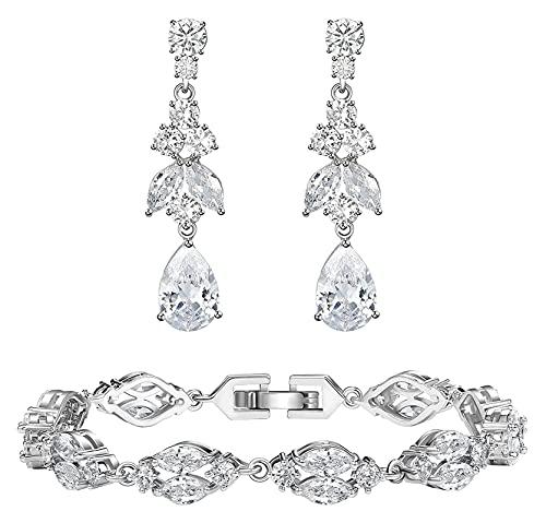 Lzpzz Pendientes de novia de lágrima para novias con pulseras marquesa de plata