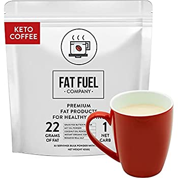Fat Fuel Instant Keto Coffee – a Complete Keto-Friendly Meal Replacement with MCT Oil Coconut Oil and Grass Fed Butter – Low Carb Gluten-Free and Organic  30-Serving Bulk Bag
