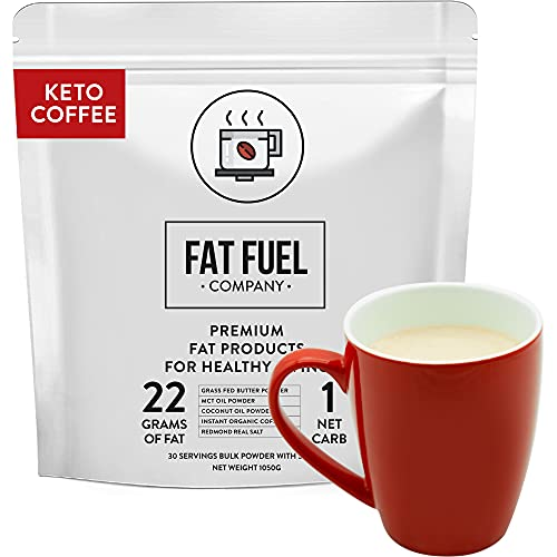 Fat Fuel Instant Keto Coffee – a Complete Keto-Friendly Meal Replacement with MCT Oil, Coconut Oil, and Grass Fed Butter – Low Carb, Gluten-Free, and Organic (30-Serving Bulk Bag)