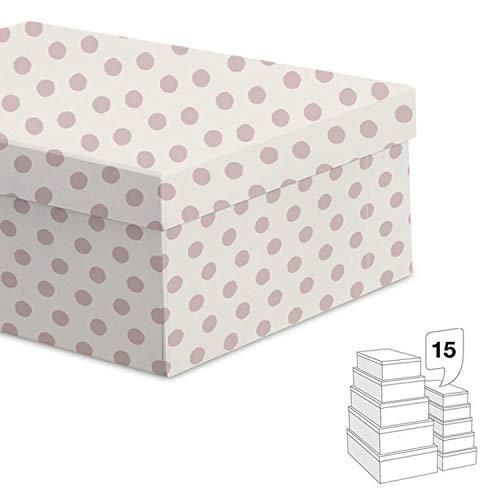 Vidal Regalos Set 15 Cajas Diferentes Tamaños Almacenaje Topos Blanco Rosa 55 cm