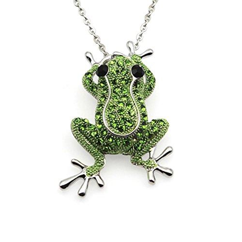 Colgantes de moda collar cristal rana collar broche mujeres joyería (plata)