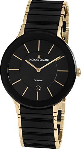 JACQUES LEMANS Unisex Erwachsene Analog Quarz Uhr mit Edelstahl Armband 1-1855D