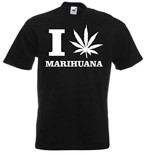 JINTORA Camiseta T-Shirt - Hombre Negro - Talla XXL - Amo la Marihuana - JDM/Die Cut - para Fiesta Carnaval Carnaval Laboral Deportes