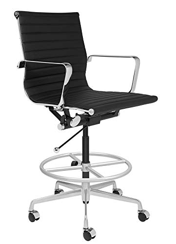 SOHO Ribbed Drafting Chair - Ergonomically Designed and Commercial Grade Draft Height for Standing Desks (Black)