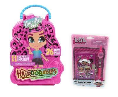 P2P Hairdorables Hair Art Series Girls Kids Toys Christmas Birthday Bundle ~ (1) Big Hair Don't Care! Series 5 Doll (1) Royale Glossy Shine (1) Mini Diary with Pen ~ Bundle of 3