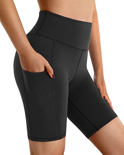 """G4Free Black Yoga Shorts with Pockets High Waist Workout Spandex Biker Shorts for Women Non See-Through Running Compression Shorts 8"""" Inseam (Shorts-Black,L)"""