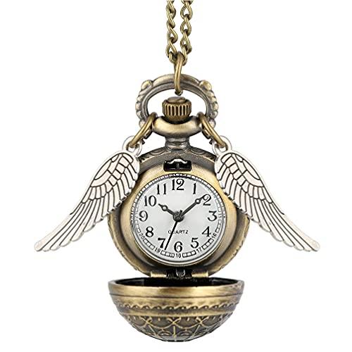 ibasenice Reloj de Bolsillo de Cuarzo Ángel ala Vintage Steampunk Reloj de Bolsillo Antiguo Soplón Bola Collar Colgante Reloj con Cadena para Hombres Mujeres Regalo Bronce