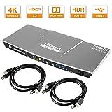 TESmart 4 Ports HDMI KVM Switch 4K@60Hz 4:4:4 Ultra HD  4x1 KVM Switcher 4 in 1 out mit 2 Stck. 1,5 m KVM-Kabeln Unterstützt USB 2.0-Geräte Steuerung von bis zu 2 Computern/Servern/DVR-Mystisch Silber