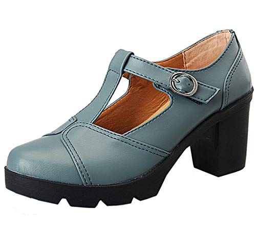 DADAWEN Women's Classic T-Strap Platform Mid-Heel Square Toe Oxfords Dress Shoes Light Gray US Size 8
