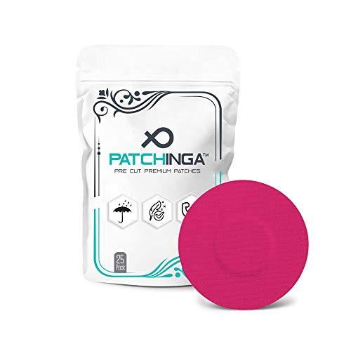 PATCHINGA | 25x Freestyle Libre 1 & 2 Pflaster, CGM Sensor Patch, Fixierung, Tape, selbstklebend, wasserfest, hautfreundlich, haltet bis zu 10 Tage - Erhältlich in 4 Farben (pink)