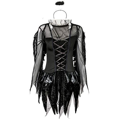 Vestito da Donna di Halloween Lady Halloween Sexy Dark Angel Costume Game Uniform Ghost Bride (Colore : Nero, Dimensione : XXL)