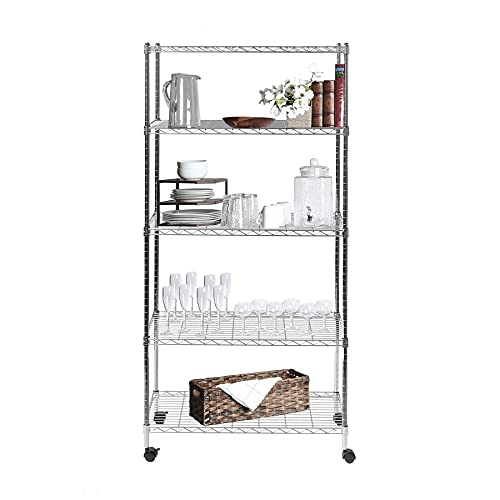 Seville Classics 5-Tier Steel Wire Shelving with Wheels, 30' W x...