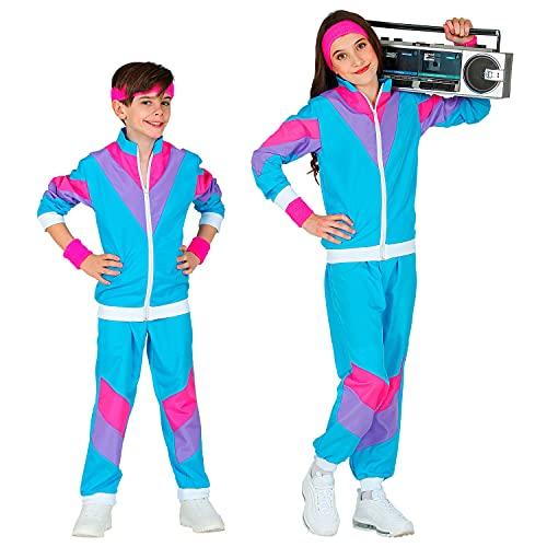 Widmann - Kinderkostüm 80er-Jahre Trainingsanzug, Jacke und Hose, angenehmer Tragekomfort, Jogginganzug, Retro-Style, Bad Taste Party, Karneval