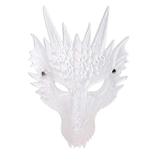 XWYWP Halloween Maske Kreative Halloween Tier Kopf Maske transluzente Drachen Maske Furry Animal Erwachsene Kostüm Drachen Masken Halloween Spielen Requisiten White