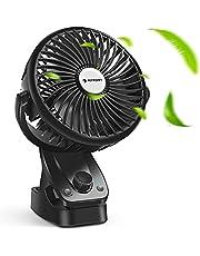 Ventilator Leise Klein USB Fan - 140°Automatische Rotation, kühlende natürliche Belüftung,Tragbarer Tischventilator Wiederaufladbarer USB-Akku Batteriebetrieben für Auto,Kinderwagen,Büro und Outdoor
