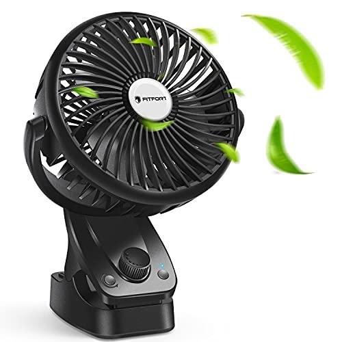 Ventilador USB - Mini Ventilador Portatil Recargable Ventilador Clip Ventilación Natural de Refrigeración, 5200 mAh, Oscilación Automática de 140 ° para Cochecito, Camas, Oficina, Camping y Viajes