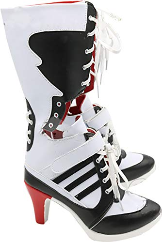 GSFDHDJS Cosplay Stiefel Schuhe for Batman Suicide Squad Harley Quinn White