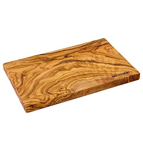 NATUREHOME Tabla de cortar de madera de olivo maciza, rectangular, 35 x 18 x 2 cm, M, para servir y como tabla de cocina