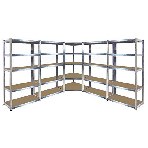 Hochbelastbares, verzinktes Eck-Stahlregal-Set, 1800 x 900/698 x 400 mm (H x B x T), Traglast: 175 kg (gleichmäßig verteiltes Gewicht)