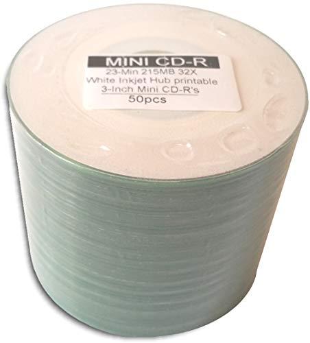 50-Pak 3-Inch White Inkjet Hub Printable 32X 8cm CD-R's & Sleeves!
