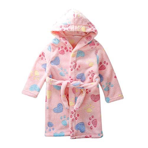 DEBAIJIA Baby Bademantel 0-14T Kleinkind Morgenmantel Kinder Hausmantel Handtuch Robe Säugling Nacht Kleidung Junge Mädchen Unisex (Rosa-110)
