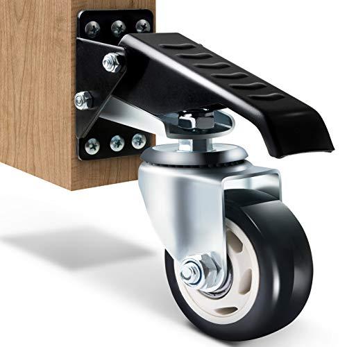 SOLEJAZZ Workbench Caster Kit 400KG Kapazität Hochleistungs-Workbench Caster Ganzstahlkonstruktion Urethanräder, Bonus-Installationsvorlage, 4er-Pack