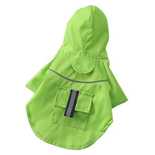 YueLove Hunderegenmantel Wasserdichter Hundemantel Regenjacke, mit Sicherheits Reflex Streifen, Geeignet für Outdoor-Bekleidung Hunde mit Tasche 18 * 15 * 3 cm