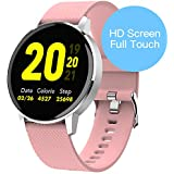 RUNDOING Full Touch Screen Smart Watch for Android iOS Phones IP68 Waterproof,Fitness Tracker with Sleep/Heart Rate Monitor,Step/Calorie Counter,Smartwatch for Women Men Girls (Pink)