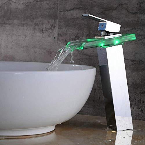Yongenee Moderna del Cromo LED de la Cascada de Cristal Agua Caliente y fría del Grifo Inteligente Luminoso Cambio de Color de la Cuenca del Grifo del Lavabo de baño Hermosa práctica