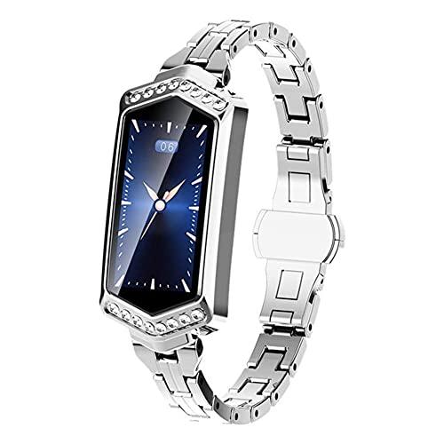 LLM Smartwatch, 2021 Nuevo Reloj Inteligente Femenino, monitorización de frecuencia cardíaca Impermeable Bluetooth para Android iOS Fitness Pulsera(C)